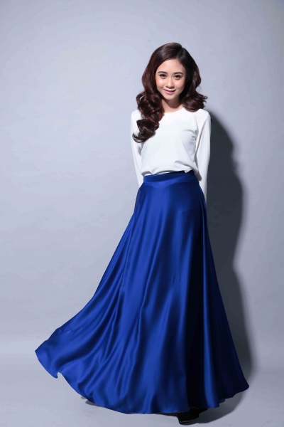 Satin Flare Skirt Royal Blue