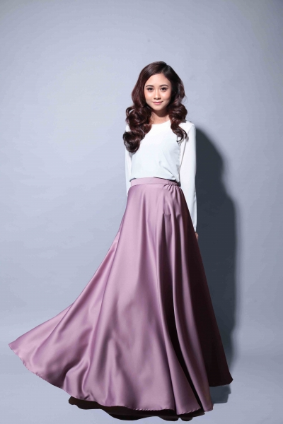 Satin Flare Skirt Soft Purple