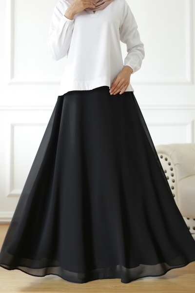Exclusive Chiffon Flare Black