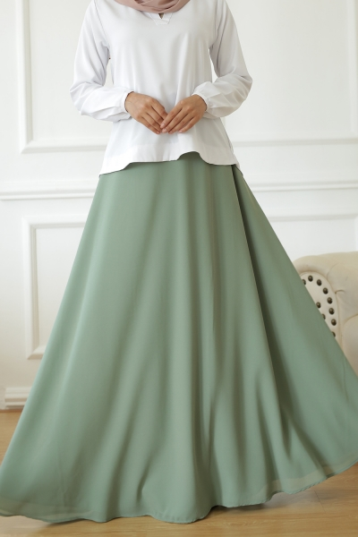 Exclusive Chiffon Flare Teal Green