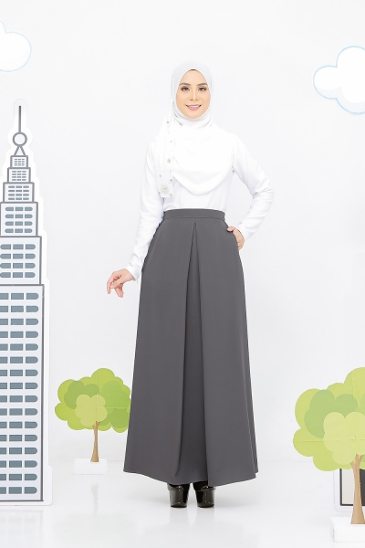 Pocket Pleated Skirt Grey