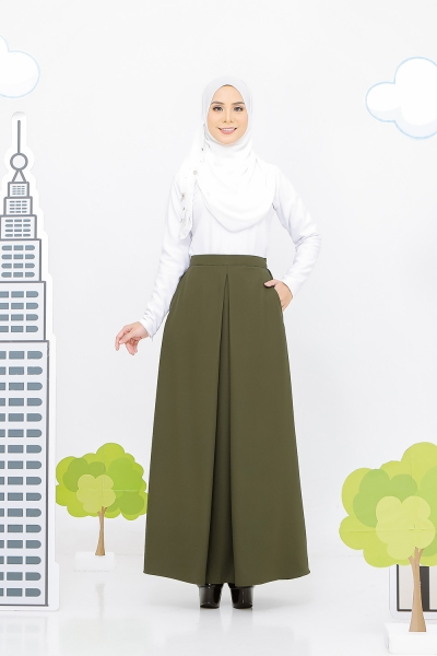 Pocket Pleated Skirt Olive Green