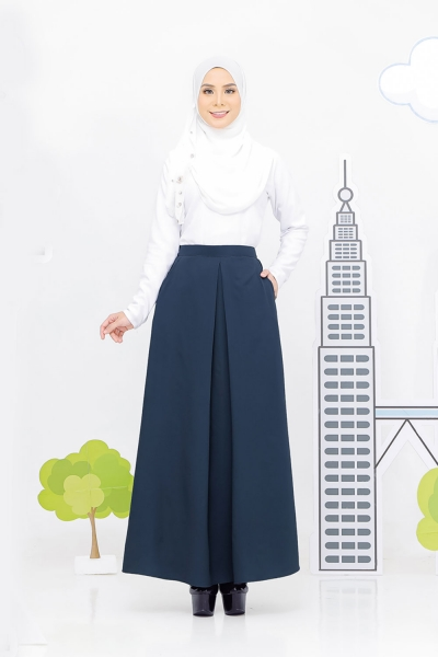 Pocket Pleated Skirt Prussian Blue