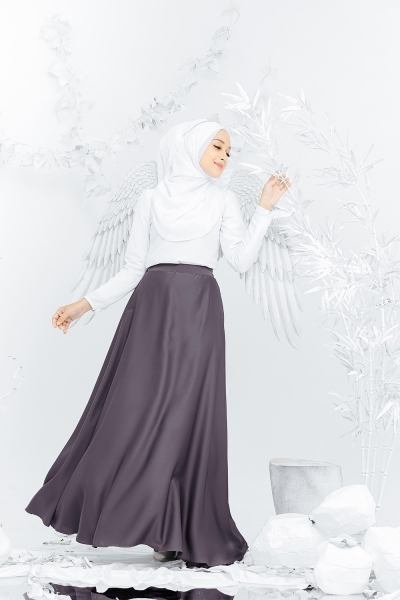 Satin Flare Skirt Dark Grey