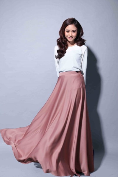 Satin Flare Skirt Dusty Brown
