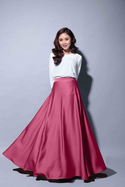 Satin Flare Skirt Dusty Pink