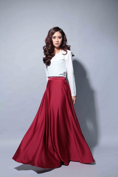 Satin Flare Skirt Maroon
