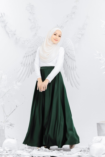 Satin Flare Skirt Emerald Green