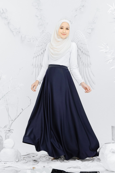 Satin Flare Skirt Navy Blue