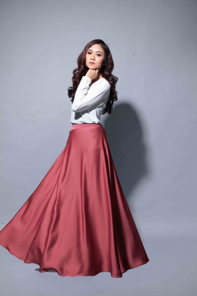 Satin Flare Skirt Pink Salmon